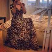 Посуточная аренда Леопардовое платье в пол из дорогого шелка в Уфе