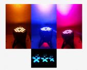 Посуточная аренда Мощный светодиодный моноцветный прожектор заливного света  LED PAR   Светодиоды: 18х5W    Уникальные цвета - Ультрафиолет (UV), Янтарь (Amber)     Дает яркую люминесценцию на белые и отражающие свет материалы!  + 65000 оттенков всех цветов  Управлени в Иркутске
