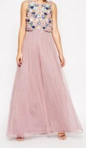 Посуточная аренда Платье макси с цветочной отделкой и сетчатой юбкой ASOS SALON в Омске