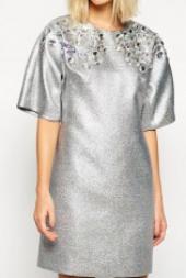 Посуточная аренда Серебряное платье с блестками и отделкой камнями в Омске