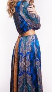 Посуточная аренда Синее платье в пол с поясом в Омске