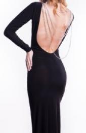 Посуточная аренда Черное облегающее платье с декорированным вырезом на спине в Омске