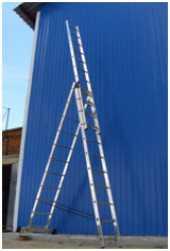 Посуточная аренда Лестница трехсекционная (универсальная) 11 м Alumet 6315.Кол-во ступеней 3х15  Высота секции 4,23м  Высота (буква У) 7,57м  Высота общ. 11м   Ширина лестницы 33,5/39,2/44,5  Ширина стаб. 1,2м  Вес 27,4кг в Майкопе