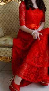 Посуточная аренда Красное кружевное платье в пол.В комплекте атласный пояс в Челябинске