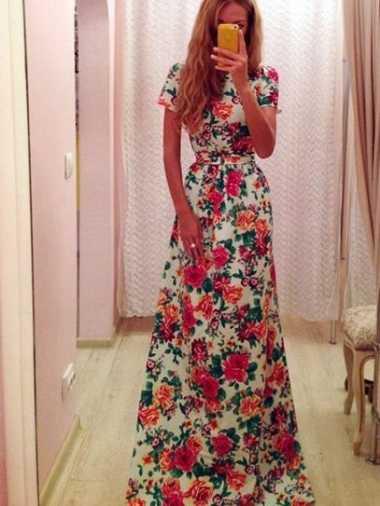 Платье в пол цветы